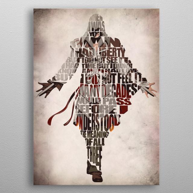 Ezio Typographic & Minimalist Illustration metal poster