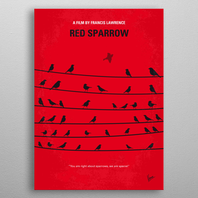 No960 My Red Sparrow minimal  metal poster