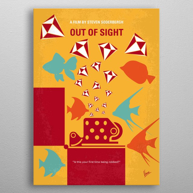 No953 My OUT OF SIGHT minimal movie poster metal poster