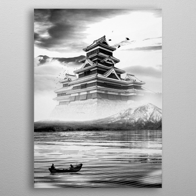 Looking on at the castle on high, through the great mountains we see a man made structure of pure beauty and elegance. metal poster