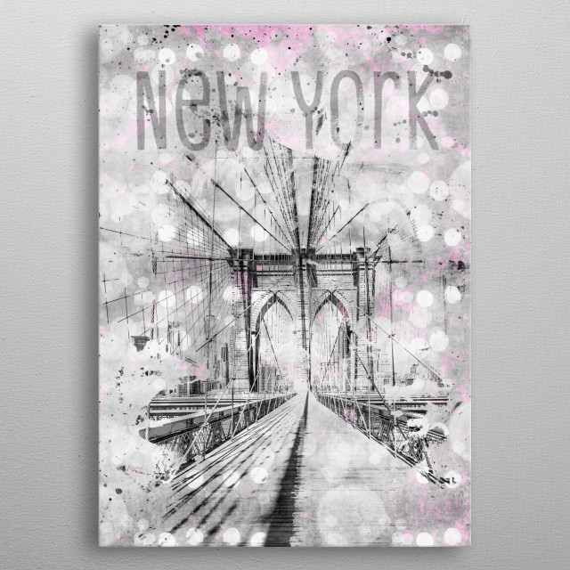 This is a gorgeous architectural cityscape with Brooklyn Bridge steel cable construction in detail. Picturesquely active passages, modern col... metal poster