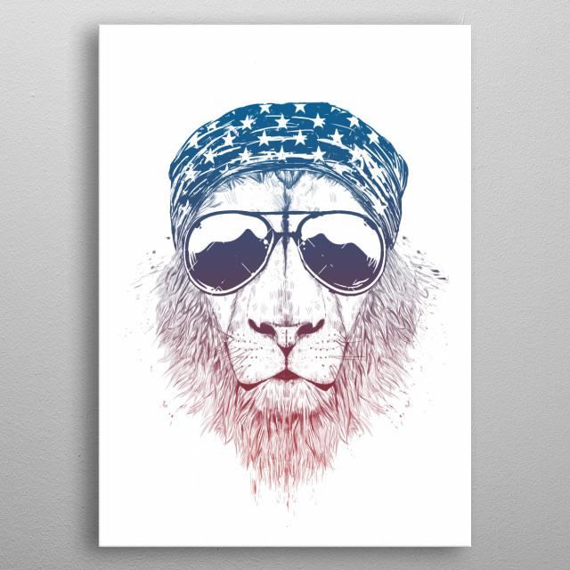 Wild lion metal poster