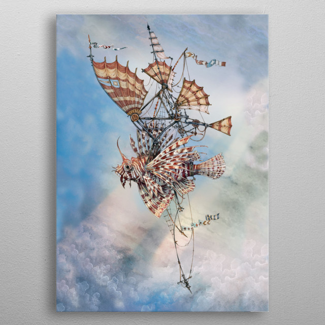 Lionfish in flight metal poster