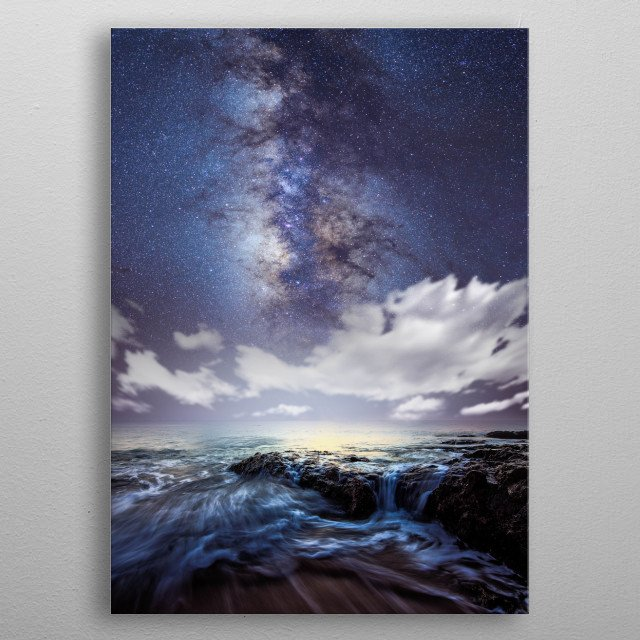 Milky Way Over The Sea At Night  metal poster