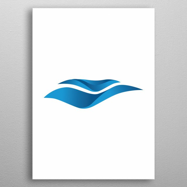 minimalistic abstract ocean wave metal poster