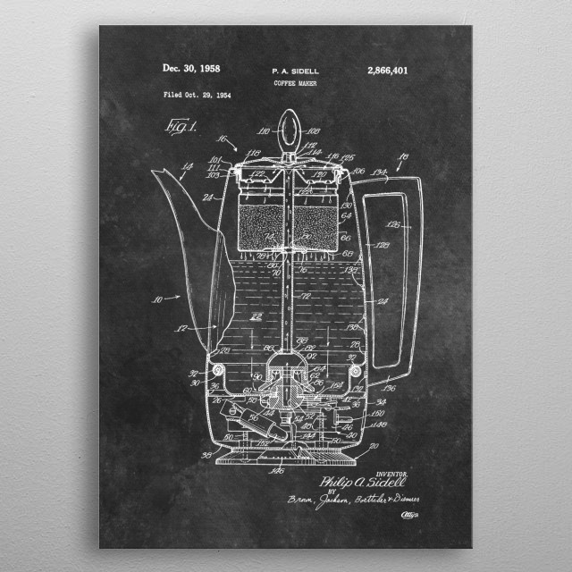 patent art Sidell Coffee maker 1958 metal poster