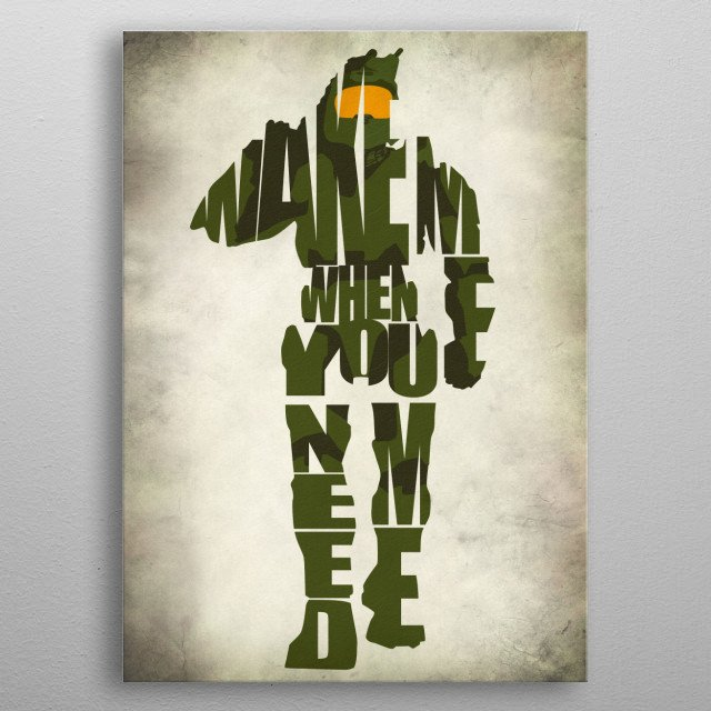 Master Chief Typographic & Minimalist Illustration metal poster