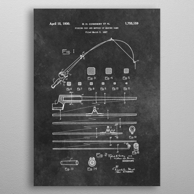 patent art Cowdery et al Fishing rod and method of making same 1930 metal poster