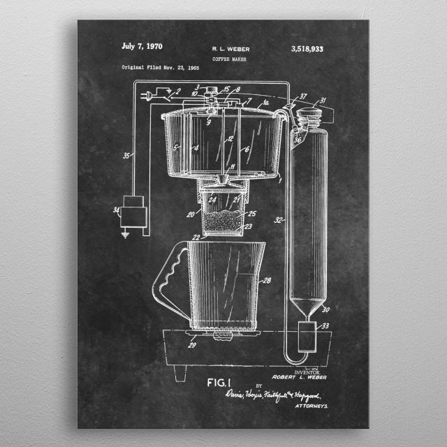 patent art Weber 1970 Coffee maker metal poster