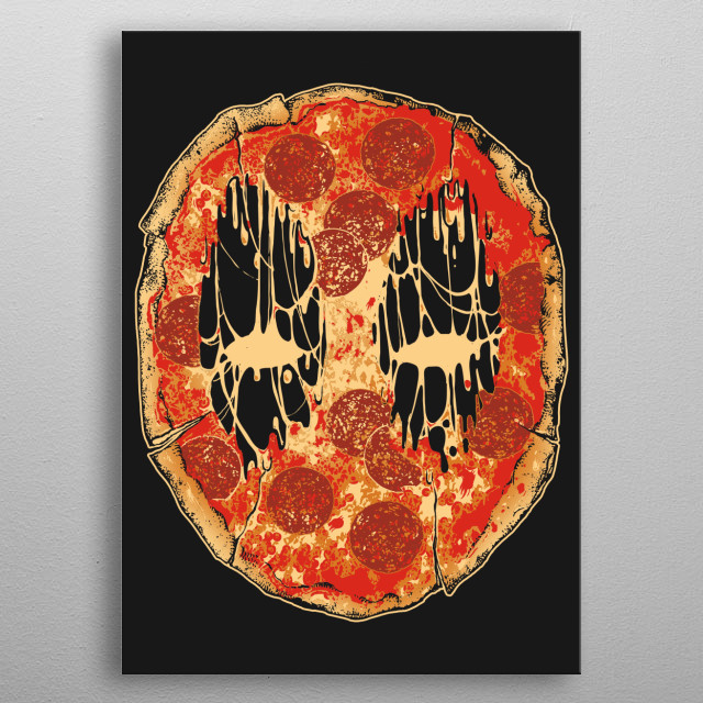 pizza face metal poster