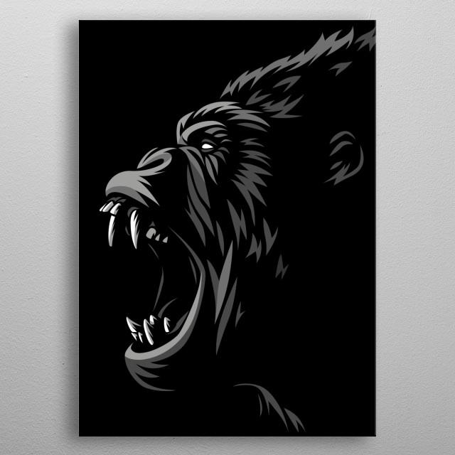 Tribal Gorilla Attack metal poster
