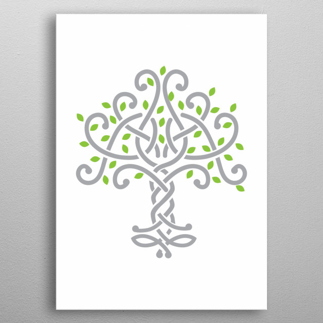 Celtic knot tree metal poster