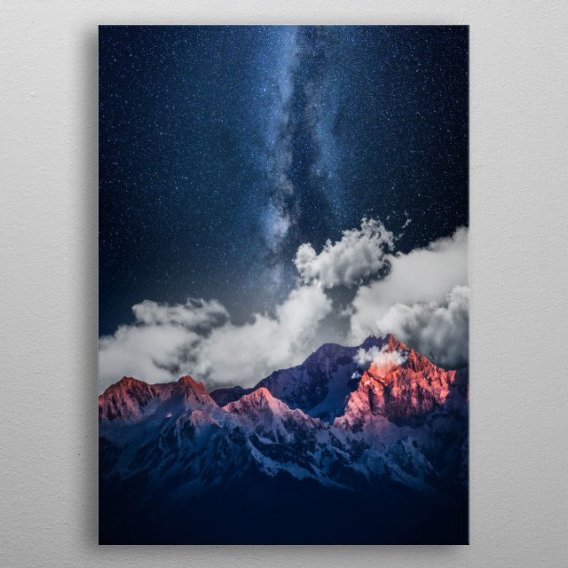 Mountain Peak & Milky Way  metal poster