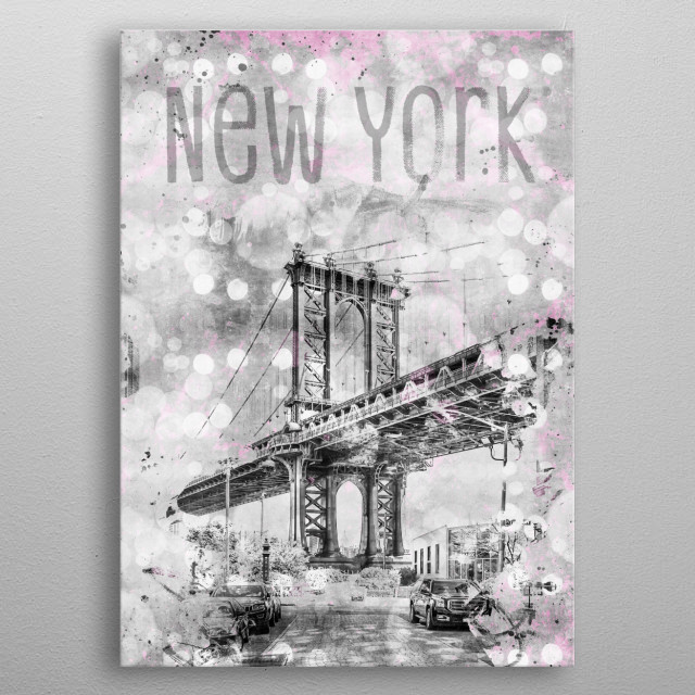 The Manhattan Bridge connects Lower Manhattan with Brooklyn. This neighborhood is called DUMBO. Lovely view from Washington Street. metal poster