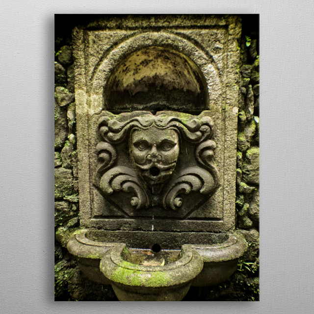 scary fountain metal poster