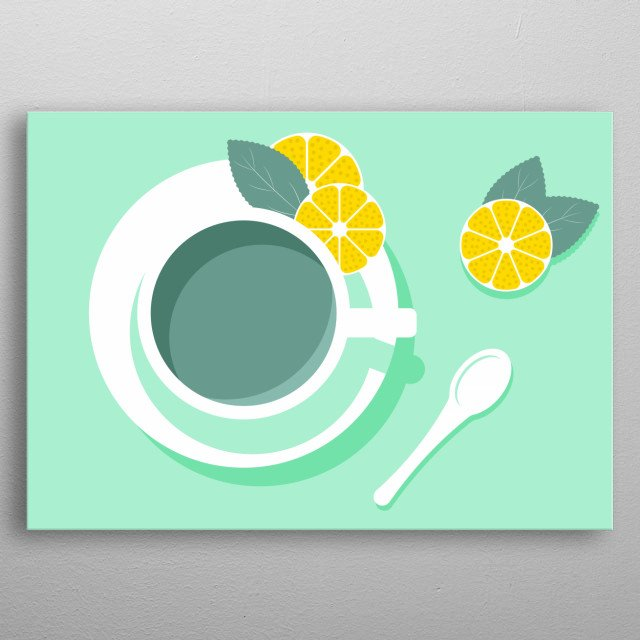 What a mix of colors. This dynamic mint and the lemon shining yellow. That dispels any tiredness. Well, would not that be something for the office? metal poster