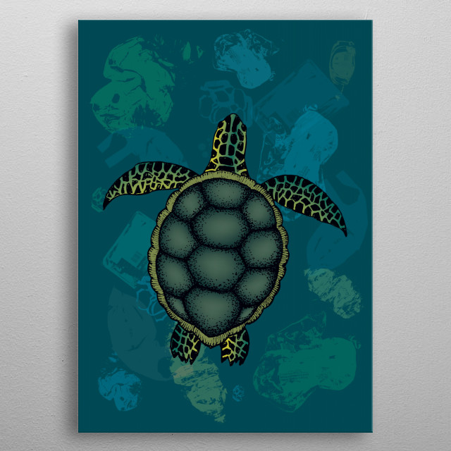 Sea turtle swimming over tons of plastic waste  metal poster