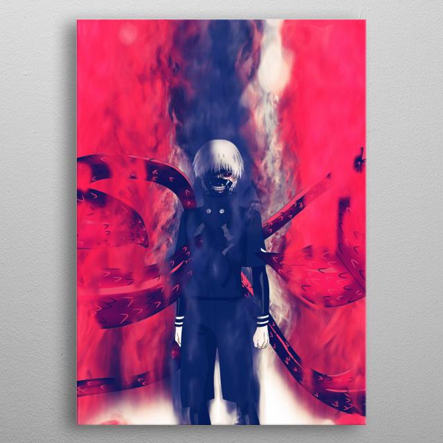 Kaneki Ken / Tokyo Ghoul / smoke and fire  metal poster