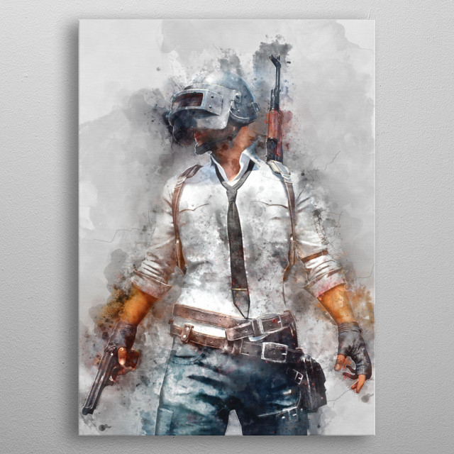Player Unknown's BattleGrounds / PUBG / watercolor metal poster