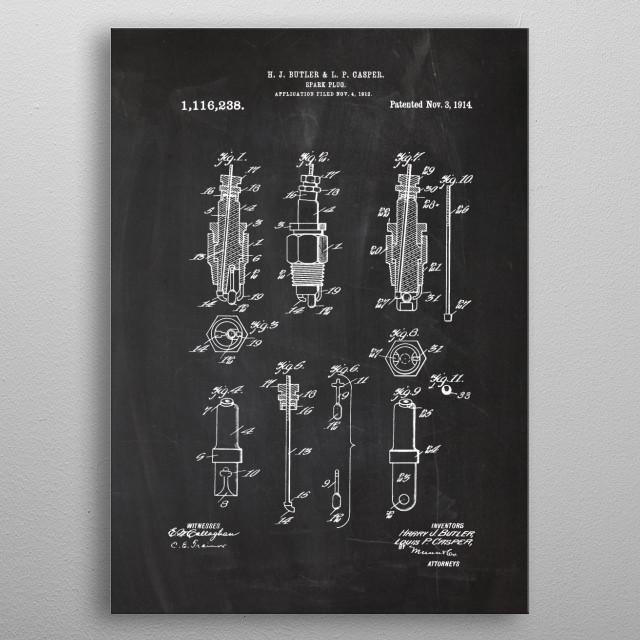 1912 Spark Plug - Patent Drawing metal poster