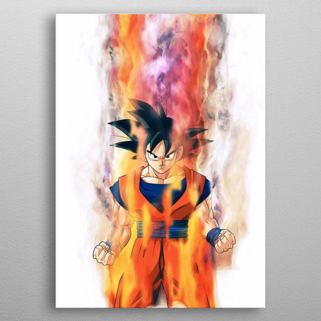 Goku / Dragonball Z / Smoke and Fire metal poster