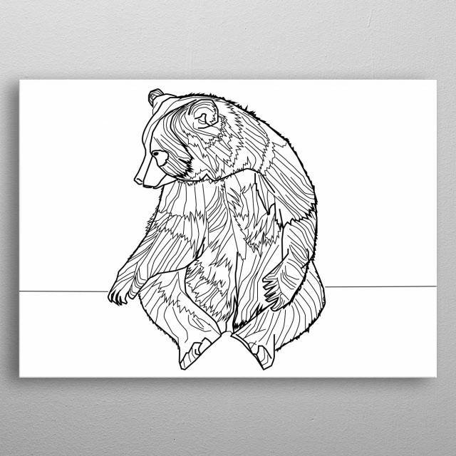 This image consists of distinct straight or curved lines placed against a background. It is called line art. Line art can use lines of different colors, although line art is usually monochromatic. metal poster