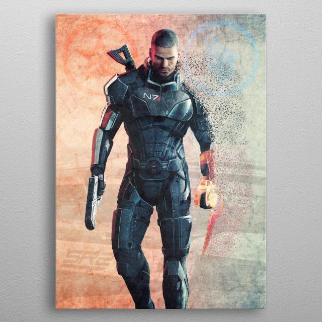 Commander Shepard (Male) metal poster