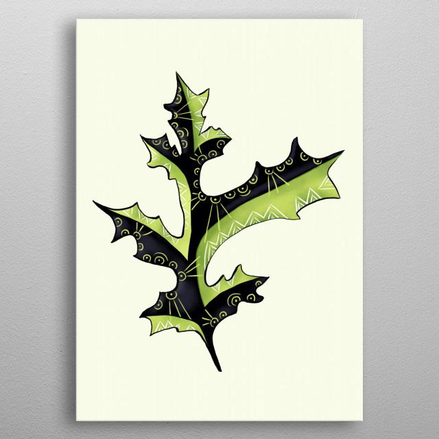 Bizarre Oak Leaf With Tattoos Digital Art metal poster
