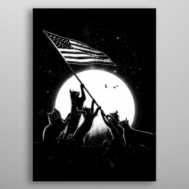 Freedom Cats American Flag metal poster