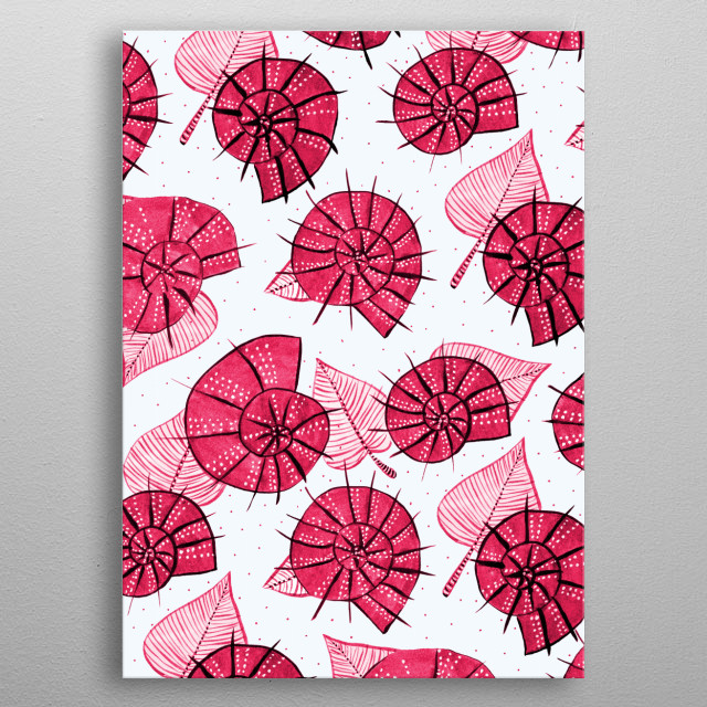 Pink Snails And Leaves Ink Drawn Pattern metal poster