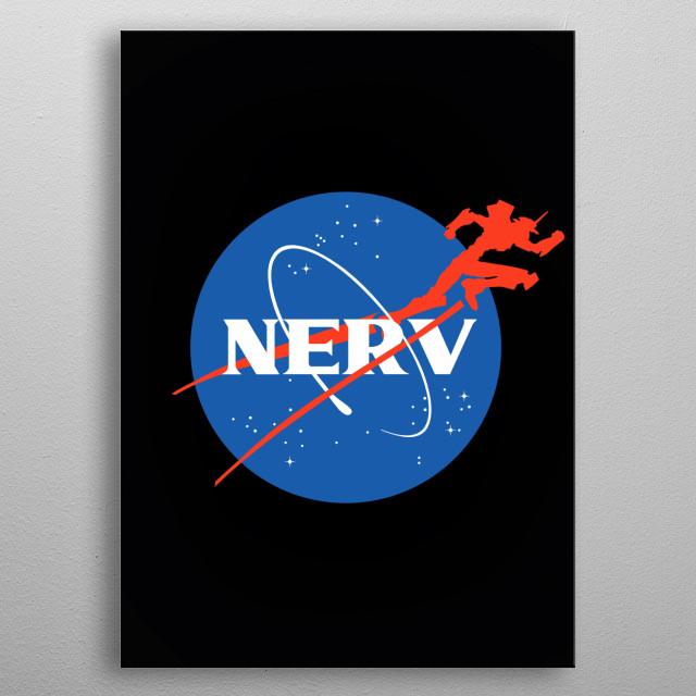 Nasa logo parody featuring Neon Genesis Evangelion and NERV, the company producing the Eva mecha. metal poster
