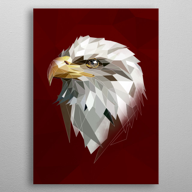 White modern Eagle head to your wall metal poster