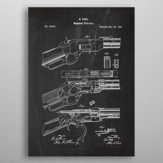 1866 Magazine Fire-Arm - Patent Drawing metal poster