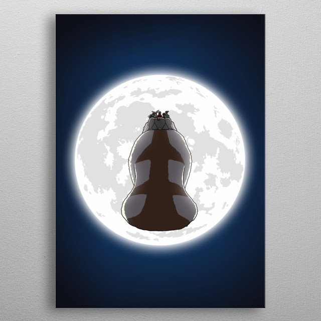 Yip Yip into the moonlight with Appa from Avatar: The Last Airbender and the Gaang. metal poster