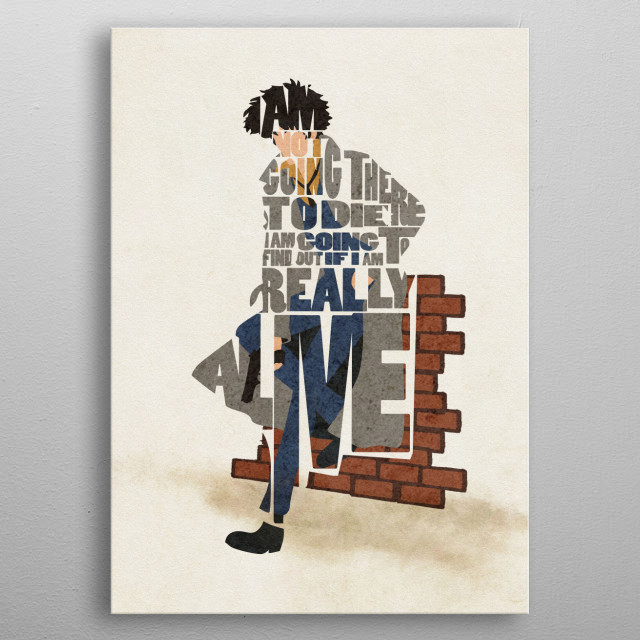"Spike Spiegel Typographic & Minimalist Portrait  ""I'm not going there to die. I'm going to find out if I'm really alive."" metal poster"