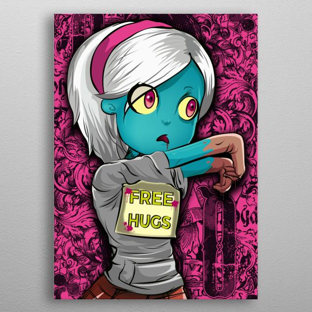 Apocalypse Walking Dead Zombie Hippie Free Hugs metal poster