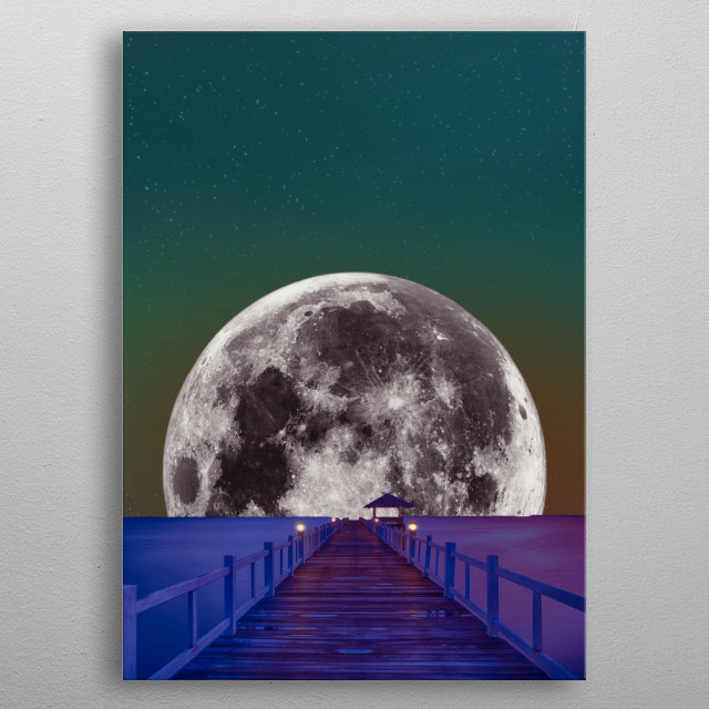 Road to the moon metal poster