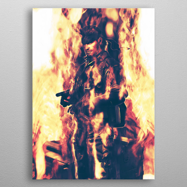 Snake /Metal Gear Solid / Smoke and Fire metal poster