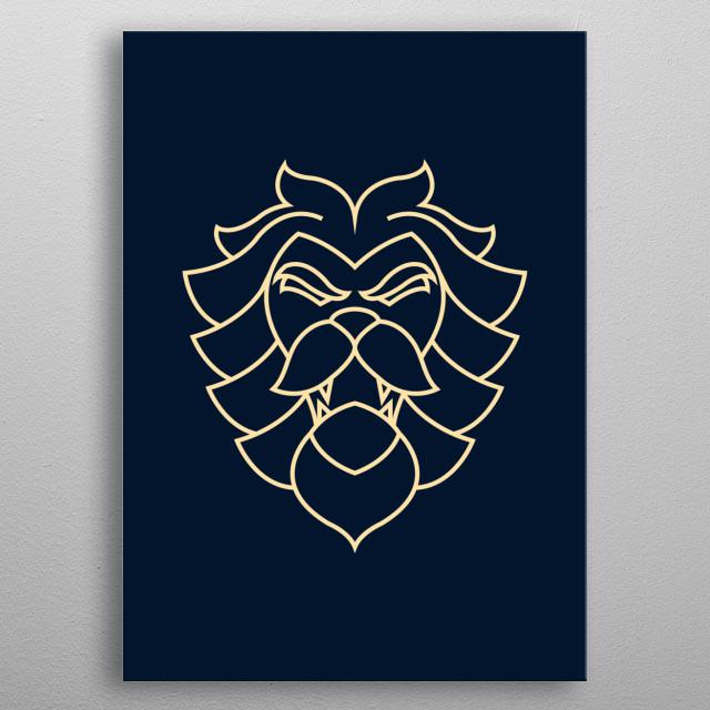 Minimalist Lion (White Color) metal poster