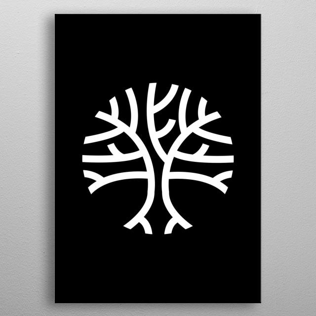 Circular Tree (White Version) metal poster