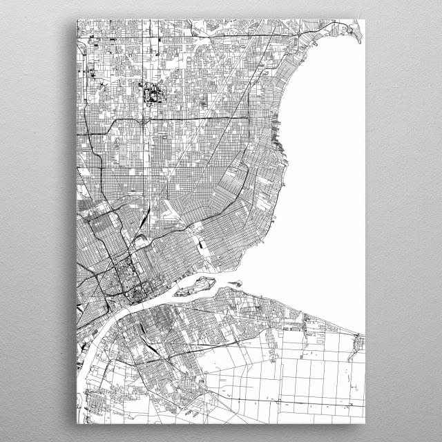 Detroit Map metal poster