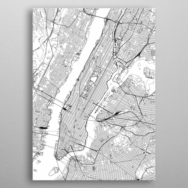 New York Map Black And White.New York Map By Multiplicity Maps Metal Posters Displate