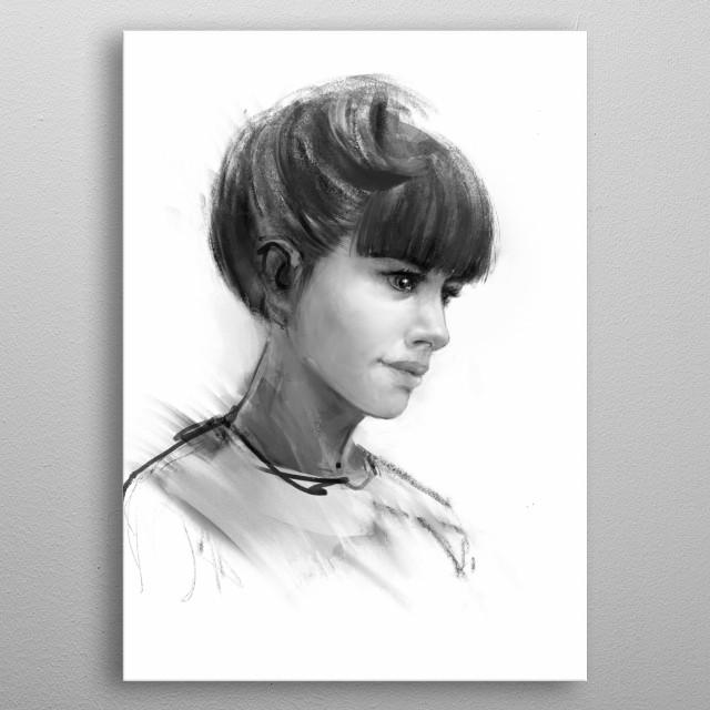 Girl portrait metal poster
