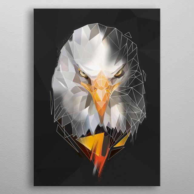Modern eagle head - minimalist style metal poster