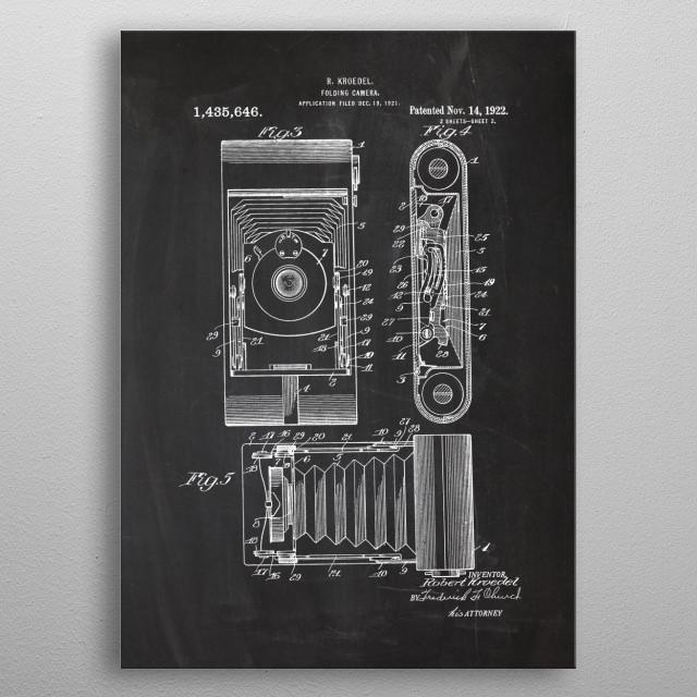 1921 Folding Camera - Patent Drawing metal poster