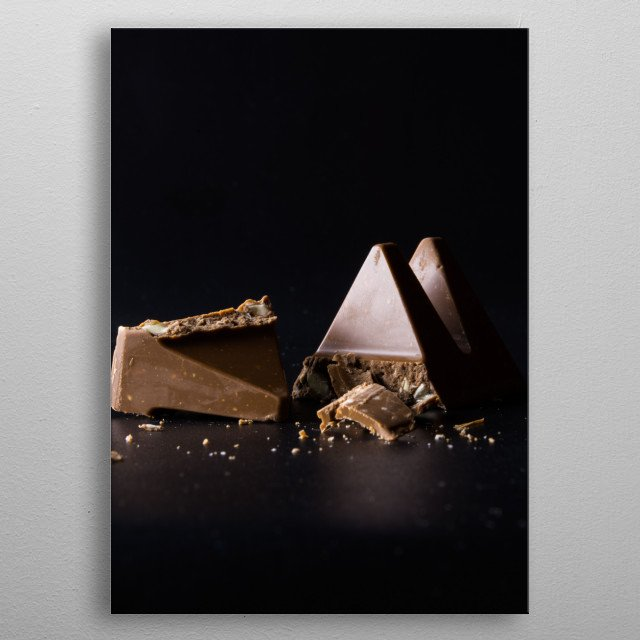 Chocolate with peanuts and popcorn metal poster