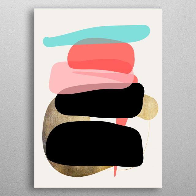 Modern minimal forms 1 metal poster