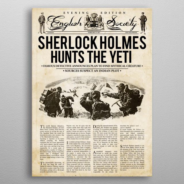 Sherlock Holmes Hunts The Yeti metal poster