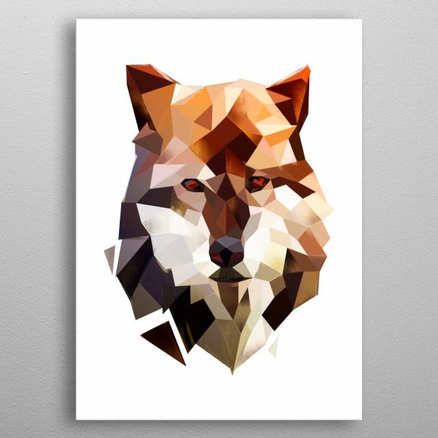 modern wolf head - minimalist style metal poster