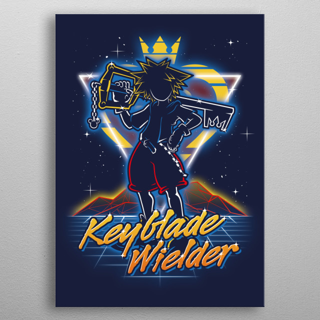 Keyblade wielder retro style from the 80s. metal poster